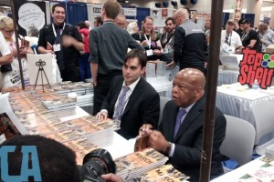 Comic Alliance actually took a picture of me talking to Nate Powell about the Southern California Review.  (Top Left: Me, Top Middle: Nate Powell, Middle: Andrew Aydin, bottom right Congressman John Lewis