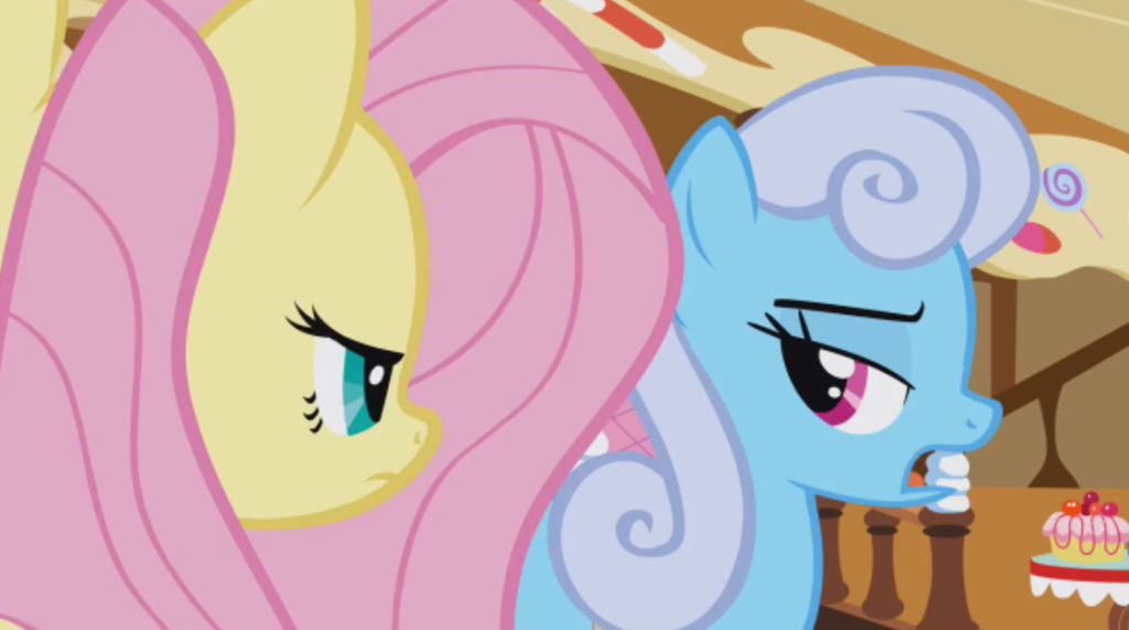 """""""Fluttershy, you're being so unreasonable.  I didn't cut in line; I redistributed your front of the line privilege."""""""